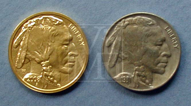 American Buffalo Ten Dollar Gold Obverse Compared To Original Nickel