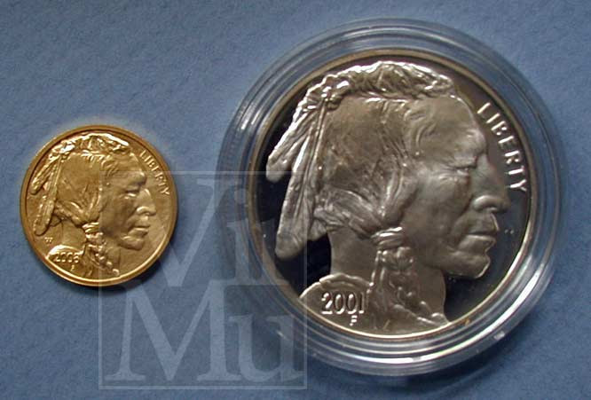 American Buffalo Ten Dollar Gold Compared To 2001 Silver Dollar