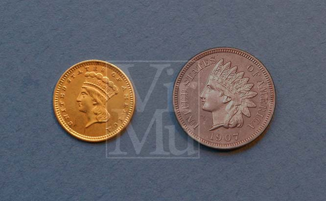 Indian Head Dollar and Penny